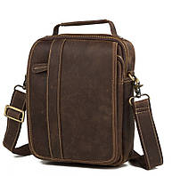Изысканная мужская кожаная сумка-барсетка из лошадиной кожи коричневая TB 00408