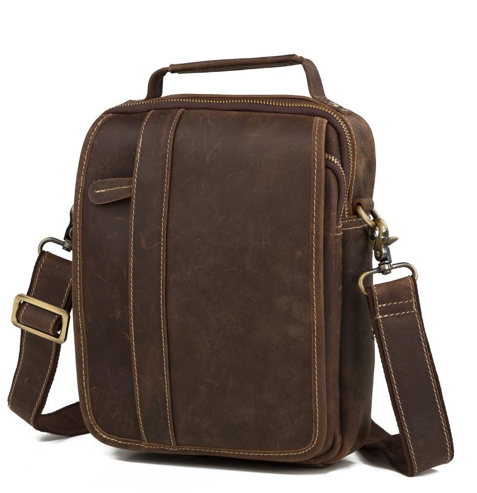 a931adf1e508 Изысканная мужская кожаная сумка-барсетка из лошадиной кожи коричневая TB  00408 - АксМаркет в Киеве