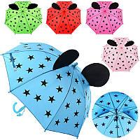 Зонтик детский MK 0524 длина 49,5 см, трость 60,5см, диаметр 80 см, спица 46,5 см, ткань, рисунок, 5 цветов