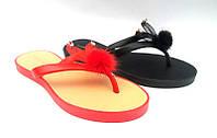 Шлепанцы-вьетнамки женские силиконовые цвета красные/черные KF0455