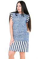 Летнее женское джинсовое синее платье