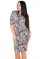 Платье футляр ZANNA BREND 681 S,M,L,XL (44,46,48,50) рукав три четверти, принт огурцы, фото 1