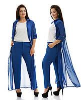 Летний костюмчик, состоит из однотонных брюк и легкого шифонового кардигана.