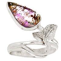 """Серебряное кольцо с какоксенитом """"Бутон""""  размер 19, фото 1"""