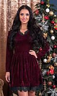 Платье бордового цвета бархатное