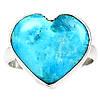 """Яркий перстень с натуральной природной бирюзой """"Сердце"""", размер 18.5 от студии LadyStyle.Biz"""