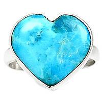 """Яркий перстень с натуральной природной бирюзой """"Сердце"""", размер 18.5 от студии LadyStyle.Biz, фото 1"""
