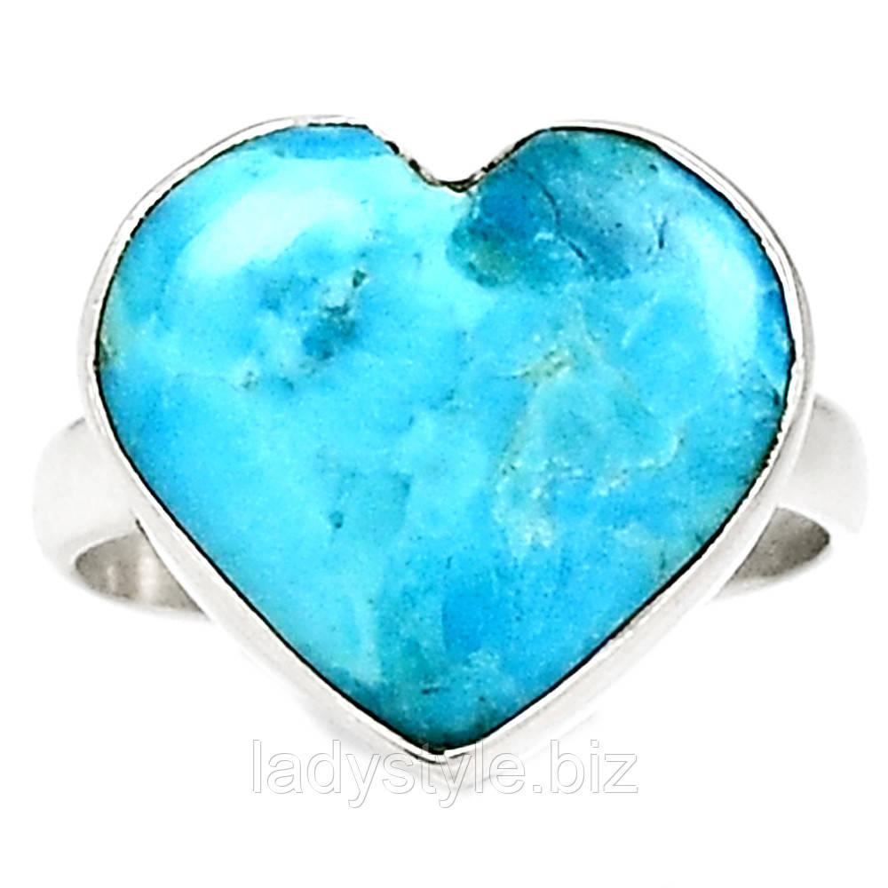 """Яркий перстень с натуральной природной бирюзой """"Сердце"""", размер 18.5"""