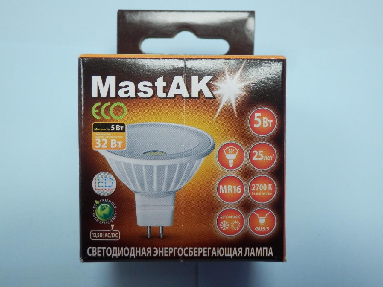 Светодиодная лампа Mastak MR16E24W ( 5W LED MR16 12V 2700K )