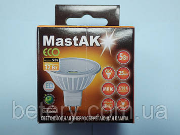 Світлодіодна лампа Mastak MR16E24W ( 5W LED MR16 12V 2700K )