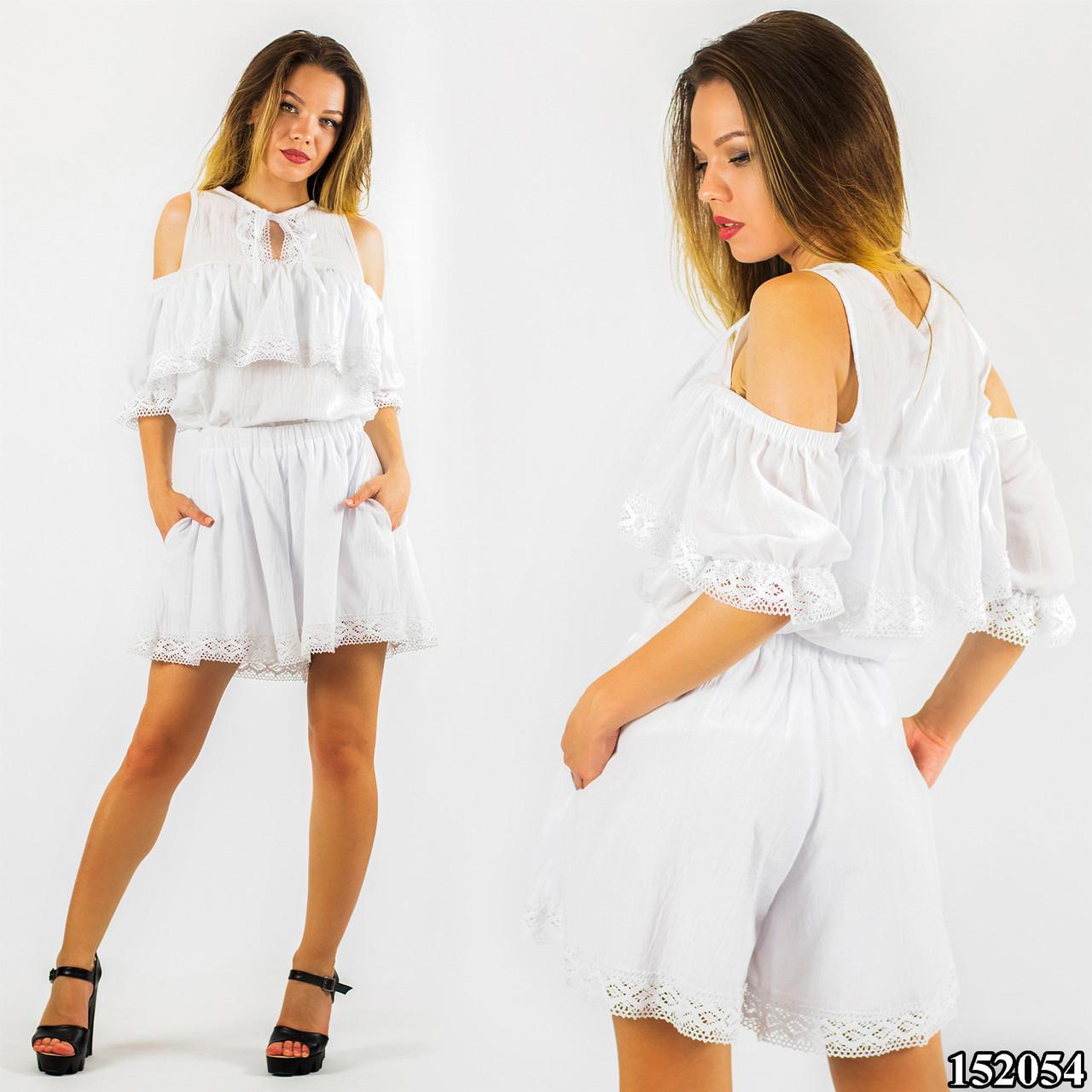 Белый костюм блуза, шорты