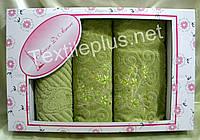 Комплект полотенец с вышивкой - Sokuculer di amore - (баня+для лица+ножки) Турция - Разные цвета