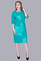 Женское платье с вставками эко -кожи . Цвет бирюза. Размер 52,54,56,58 . Код 577, фото 1