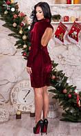 Бордовое бархатное платье с вырезом на спине
