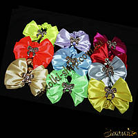 Резинки для волос бантик с пряжкой, разные цвета, длина бантика: 9 см, 10 штук в упаковке