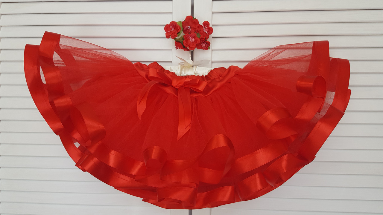 Нарядная фатиновая юбка  красная