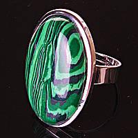 Кольцо Малахит овал гладкая оправа 2,7*2,1см без р-р