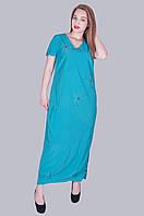 Длинное платье бенгалин. Цвет морская волна. Размер 52, 54, 56, 58. Код 583. Хмельницкий