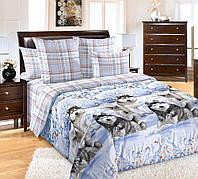 Двуспальное постельное белье с простыню на резинке 160/200/34 - Хаски, бязь ГОСТ 100% хлопок