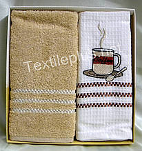 Полотенца вафелька/махра кухонные - Gulcan - Coffee - 2 шт. - 40*60 - 100% хлопок - (kod 1486)