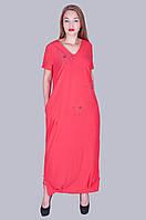 Длинное платье бенгалин. Цвет кораловый. Размер 52, 54, 56, 58. Код 583. Хмельницкий