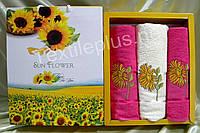 Комплект Турецких полотенец Gulcan  Sun flower 100% хлопок махра - 1баня+2для лица