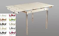 Стол стеклянный раскладной ТВ21 бежевый обеденный, 80/130*65*75 см