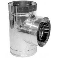 Тройник дымохода двустенный нерж/нерж 87° D-140/200 толщина 0,6 мм AISI 304