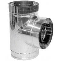 Тройник дымохода двустенный нерж/нерж 87° D-160/220 толщина 0,6 мм AISI 304