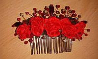 """Гребень в волосы """"Шелковые розы в самоцветах"""""""