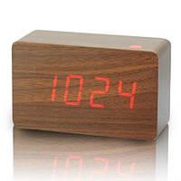 Часы  электронные настольные 1295 под дерево (красная  подсветка)