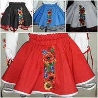 Красная детская юбка с вышивкой, 3-12 лет,