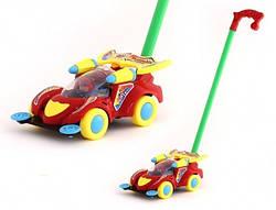 Игрушка-каталка Гоночная машина с ручкой