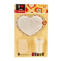 Набор для стемпинга 3 в 1 с диском в форме сердца, пластик