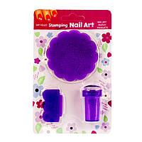Набор для стемпинга 3 в 1 с диском в форме цветочка, пластик