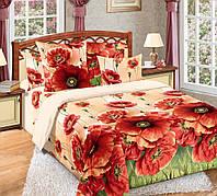 Семейное постельное белье с простыню на резинке 180*200*34  Кармен красн., бязь ГОСТ 100% хлопок