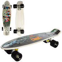 Скейт MS 0749 пенні, алюм. підвіска, колеса ПУ, фото-принт, 2 види, кул.