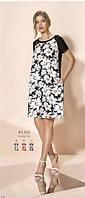 Платье летнее черное с белым растительным принтом с карманами Relax mode.