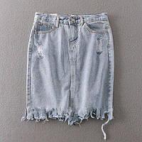 Юбка женская джинсовая с бахрамой