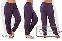 Женские батальные разноцветные летние штаны