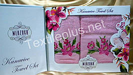 Комплект полотенец  Merzyka - Вышивка - 100% котон - лицо + баня Турция