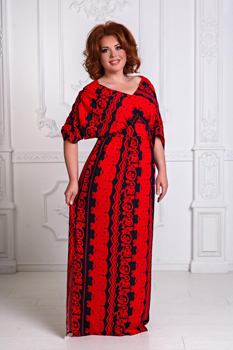 Д1256 Платье в пол в расцветках размеры 50-56