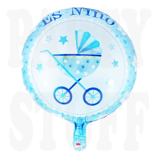 фольгированный шарик с коляской голубой