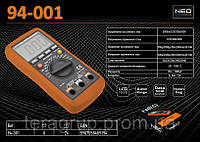 Мультиметр цифровой 4-х разрядный, 10А-600V.,  NEO 94-001