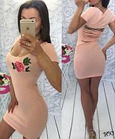 Платье хлопковое с порезами на спине