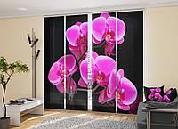 """Японские фотошторы """"Орхидеи на черном"""" 2,40*2,40 (4 панели по 60см)"""