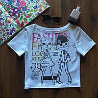 Майка кроп Топ блузка с ярким принтом Fashion