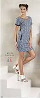 Платье летнее синее с белым геометрическим рисунком с карманами Relax mode.