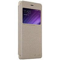 Xiaomi Redmi 4 Чехол-книжка NILLKIN - Spark series (Gold) (грязеотталкивающий износостойкий материал; окошечко