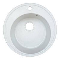 Гранитная мойка белая диаметром 51 см круглая Platinum